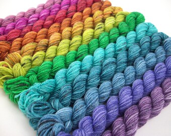Cloud Rainbow 2018 - Hand Dyed Speckled Sock Yarn Mini Skein Set - SW 60/25/15 - Superwash Merino Bamboo Nylon - 504 yards - Hime