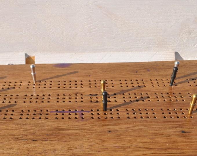 wonderful Oak  reclaimed live edge 3 lane cribbage board USA Made