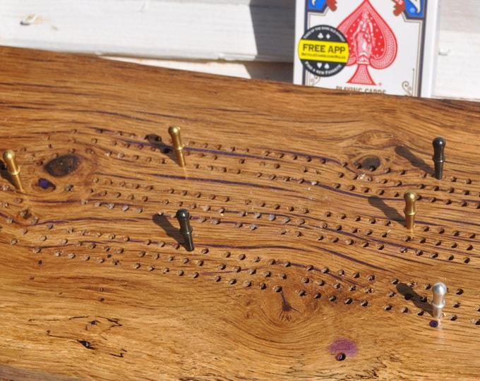 cribbage board,Oak live edge ,3 lane , CrazyBearUSA