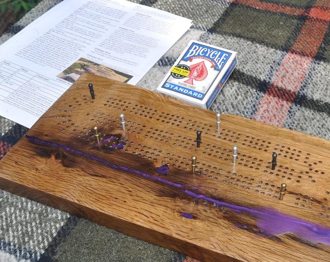 cribbage board,  American made, oak live edge, 3 lane ,CrazyBearUSA