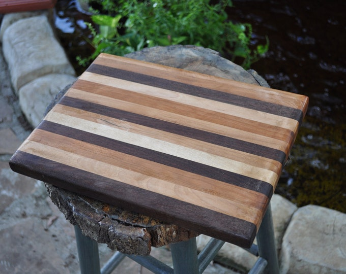 "Butcher Block  Mixed Hard wood all Natural USA grown harvested musical quality woods 11.5""x9""x1.5"""