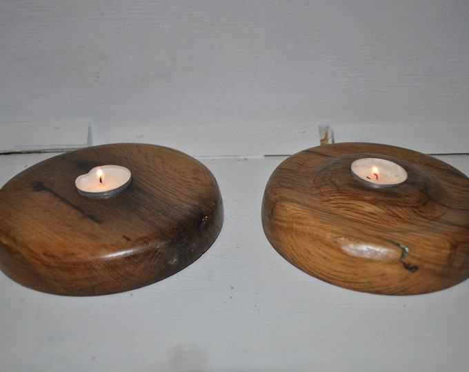 "OAK candle holders 7 ""x2""  CrazyBearUSA"