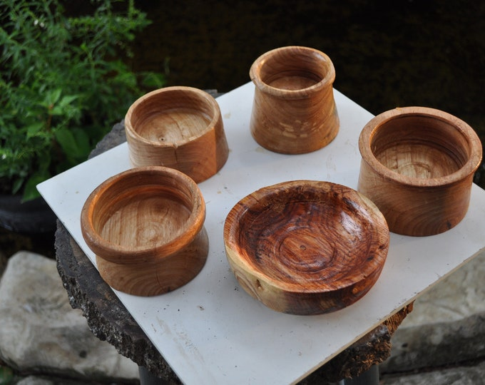 "5 Hard wood  bowl 2""-3"" deep 4 ""-5"" wide Northern Elm, Honey locust,Oak (grab Bag)"