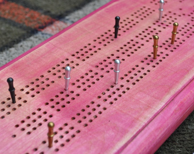 Pink Maple 3 lane cribbage board All American made