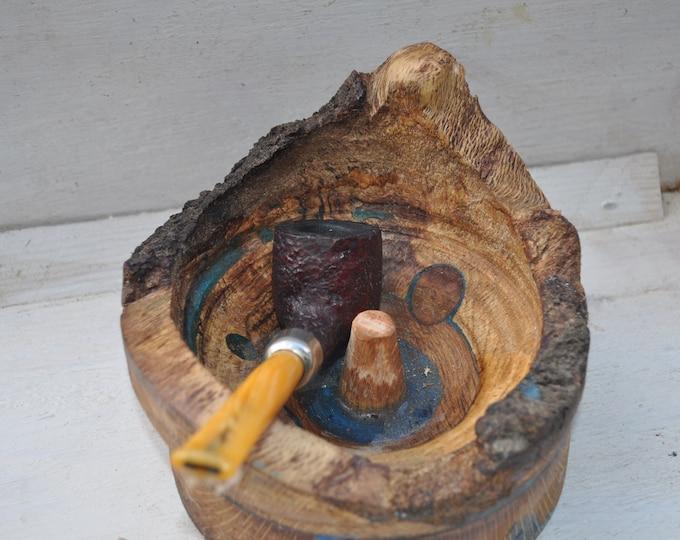Pipe ashtray w tamper Natural oak