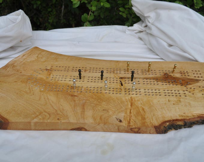 White Northern Elm or Oak  reclaimed live edge 3 lane cribbage board All American made