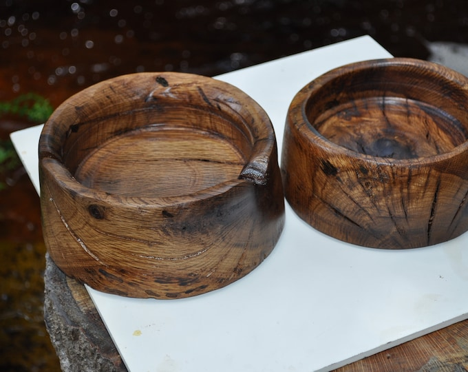 "2 RED OAK Wood Bowls reclaimed  Great Gifts 5""Wx4""Hx3D"