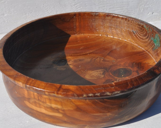 "ALL Natural  Russian Olive wood  bowl 10 inches Round X 3-5 inches High X 2"" Deep"