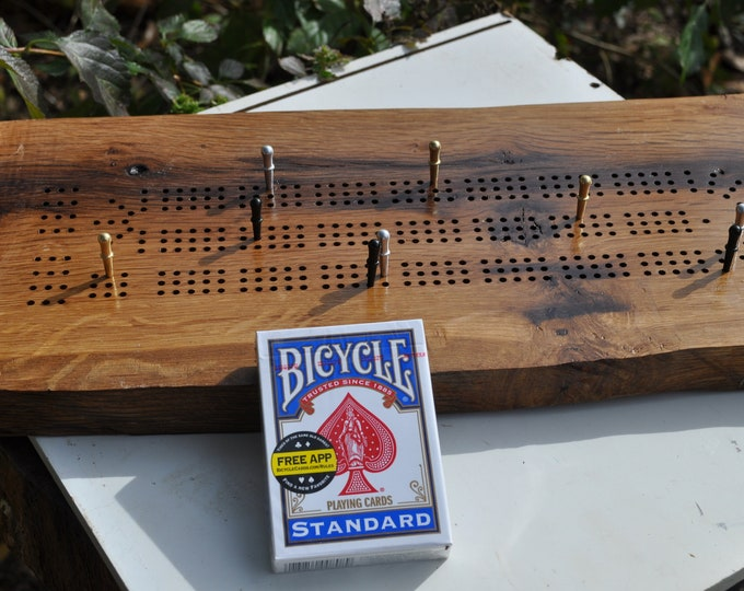 oak reclaimed live edge 3 lane cribbage board All American made