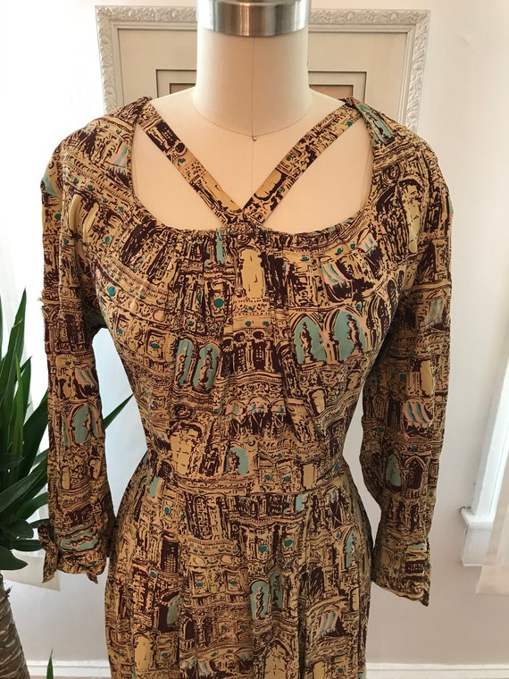1940s statues and columns novelty print cold rayon
