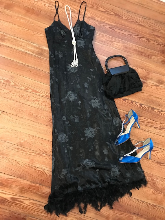 1990s black floral slip dress with feather trim