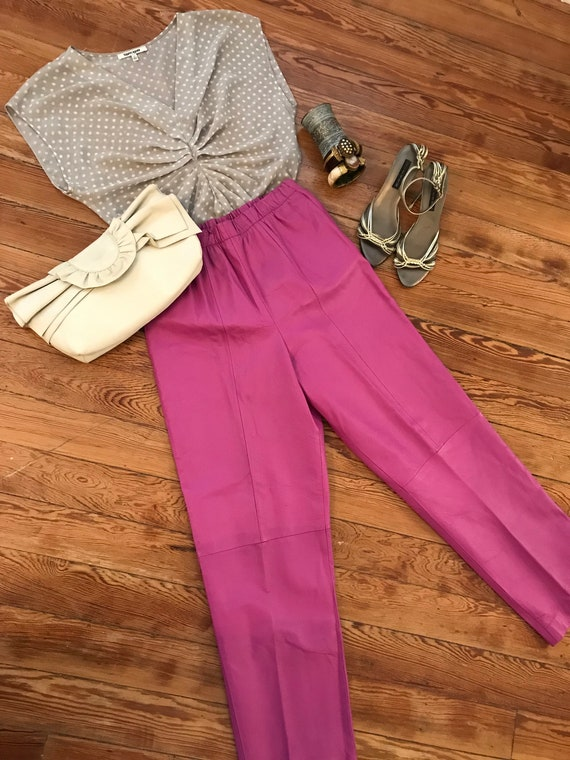 1980s lilac leather pants