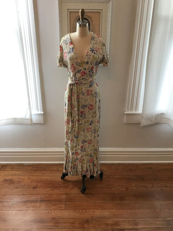 1940s cold rayon dress | floral gown