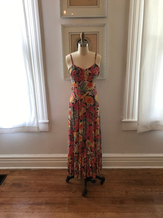 1940s floral print rayon gown | maxi dress