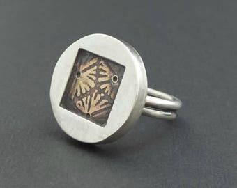 Mixed Metal Statement Ring, Silver Ring, Sterling Silver, Brass, Metalwork, Metalsmith, Handmade Jewelry, Handmade Ring, Silver Jewelry,