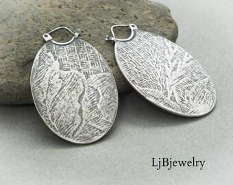 Silver Dangle Earrings, Silver Drop Earrings, Tribal Earrings, Large Disc Earrings, Sterling Silver, Metalsmith, Artisan Jewelry