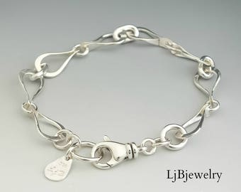 Silver Link Bracelet, Chain Bracelet, Sterling Silver, Handmade, Metalwork, Metalsmith, Artisan Jewelry