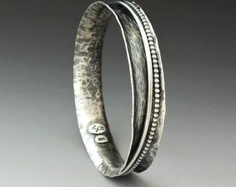 Silver Bangle, Stacking Bangle, Statement Bangle, Silver Spinner Bangle, Silver Bracelet, Anticlastic Bangle, Metalsmith Jewelry, LjBjewelry