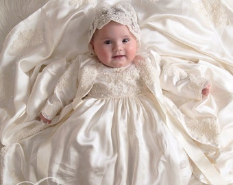 911c41313 Silk Satin Christening gown set Baptism Gown Handcrafted Heirloom gown set