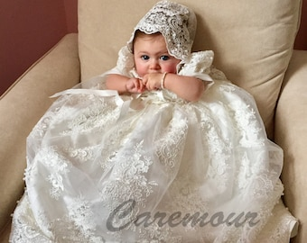 947ffe717 Intricate lace Christening gown set Baptism Gown Handcrafted Heirloom gown  set
