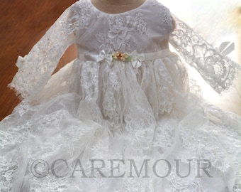 Lace Baptism dress for girls, baby girl christening gown, Lace christening gown, christening dress, baptism gown, christening gowns