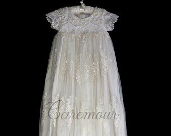 Lillian Sparkly Lace Christening gown, Christening dress, Baptism Gown, Baptism dress, Christeningg gown for baby girl
