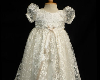 SALE! Stunning Off White Lace Christening Gown, Baptism, Dedication, 0 - 3 months, 0-3 months, 3-6 months, 6-9 months, 9-12 months