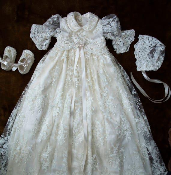 Vestido de bautizo para niña vestido vestido de bautismo   Etsy