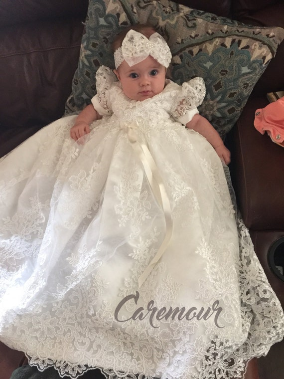 Lauren Lace Christening gown set Baptism Gown Handcrafted | Etsy