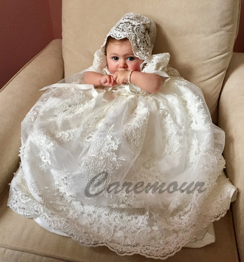 d4384daf2 Intricate lace Christening gown set Baptism Gown Handcrafted | Etsy