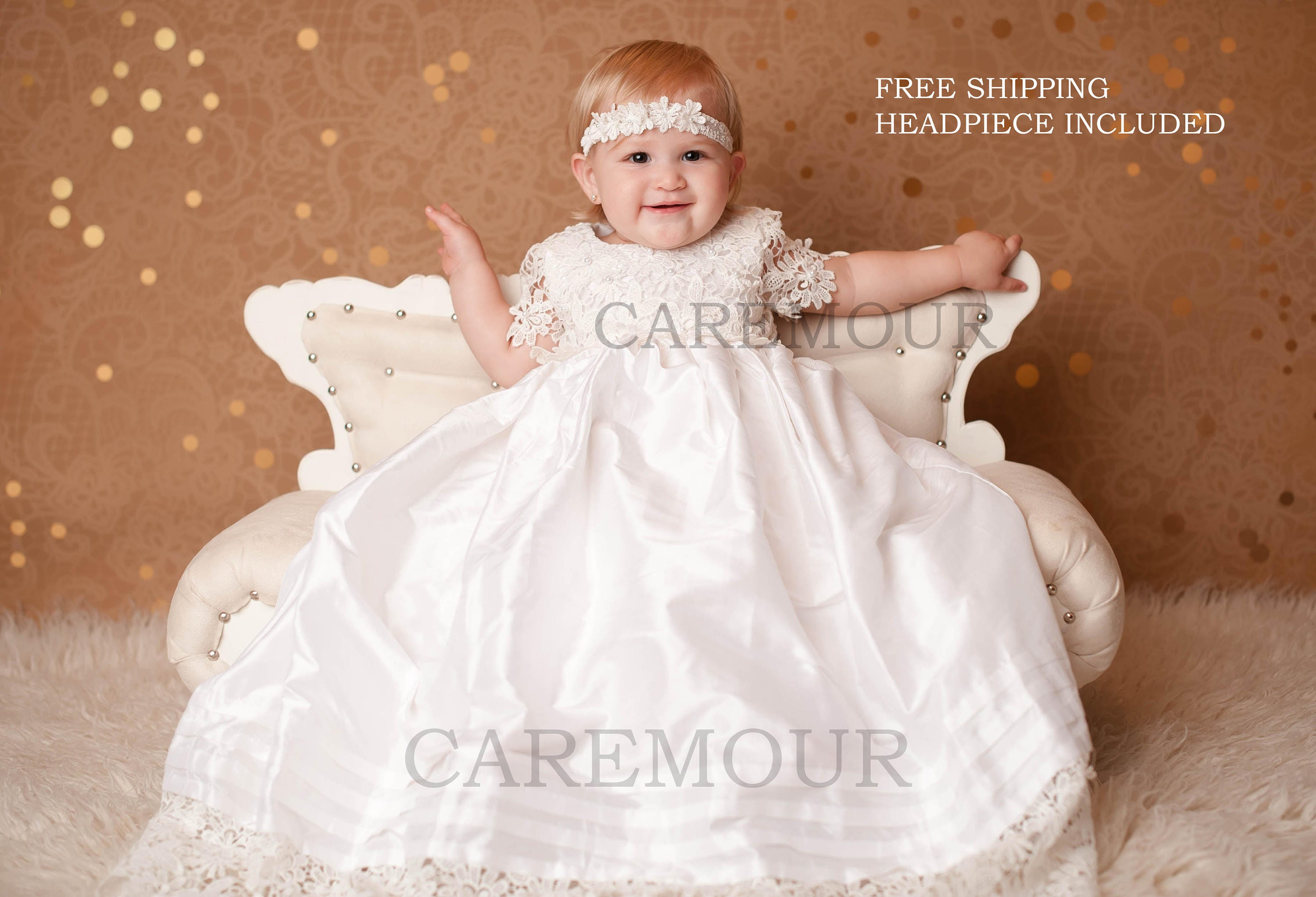 66b6d462b Silk with Crochet Lace Gown Christening Gown Baptism Gown