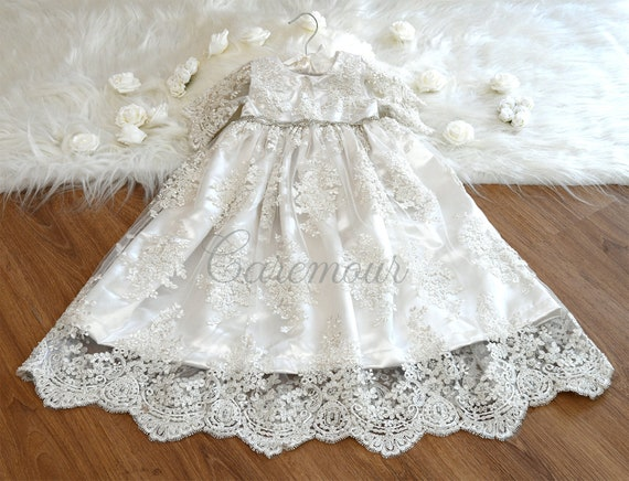 Beaded Lace Christening Gown White Christening Gowns Christening Gown For Baby Girl Christening Gown And Bonnet Set Baptism Gown