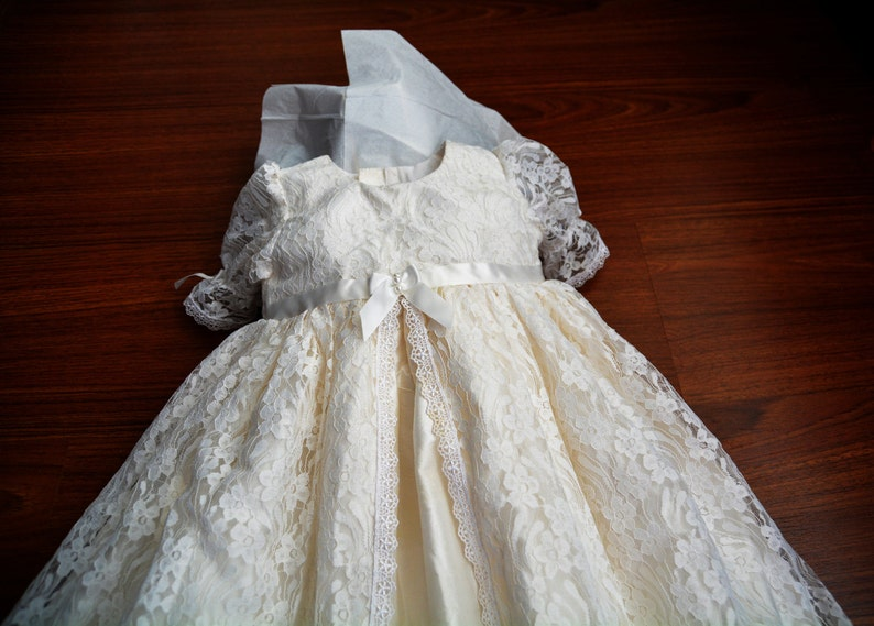 24e3cb1a4 Madison Lace and Silk Christening gown set Baptism Gown   Etsy