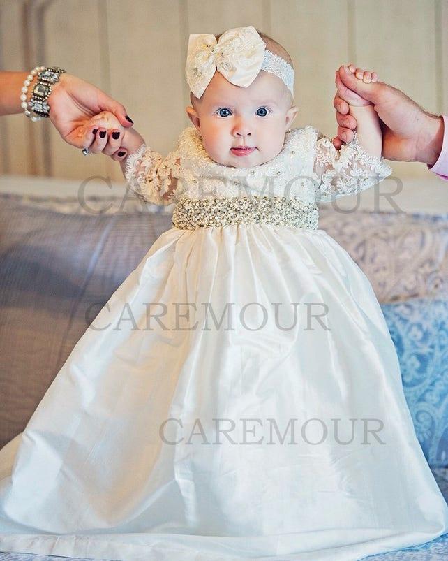 Baptism dress for baby girl christening gown baptism dress   Etsy