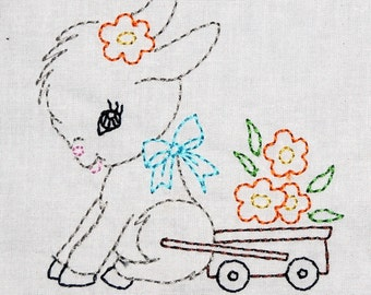Vintage Donkey Cart with Flowers Machine Embroidery Design 2 sizes, 4x4 or 5x7 colorwork linework, INSTANT DOWNLOAD. girl, toddler, baby