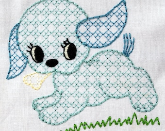 Vintage Plaid Puppy Dog Machine Embroidery Design 2 sizes, 4x4 or 5x7 colorwork linework, INSTANT DOWNLOAD. boy,  girl, toddler, baby