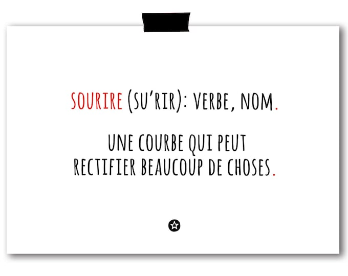 Smile Definition Card in French