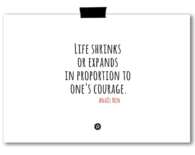 Card with Anais Nin Quote on Courage