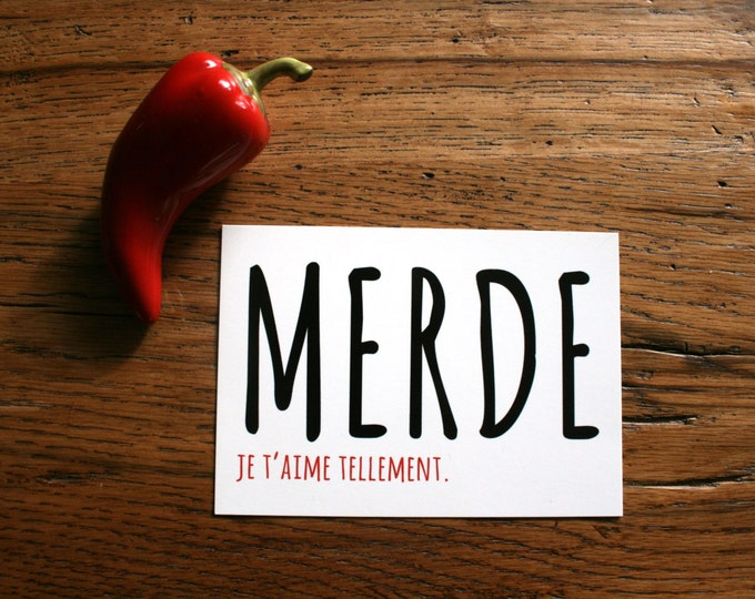 Card Merde Je T'Aime in French