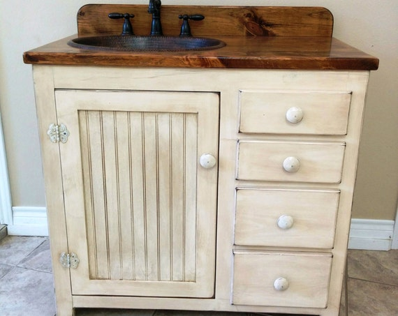 "Bathroom Vanity - 36"" - Rustic Farmhouse Bathroom Vanity - FH1297-36L - Bathroom Vanity w/ Drawers - Rustic Bathroom Vanity - Copper Sink"