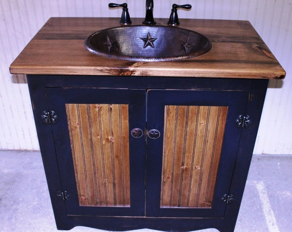 "Bathroom Vanity - FH1296-36 - Rustic Farmhouse Bathroom Vanity - 36""- Black - Bathroom Vanity with sink - Copper Sink - Bathroom Vanities"