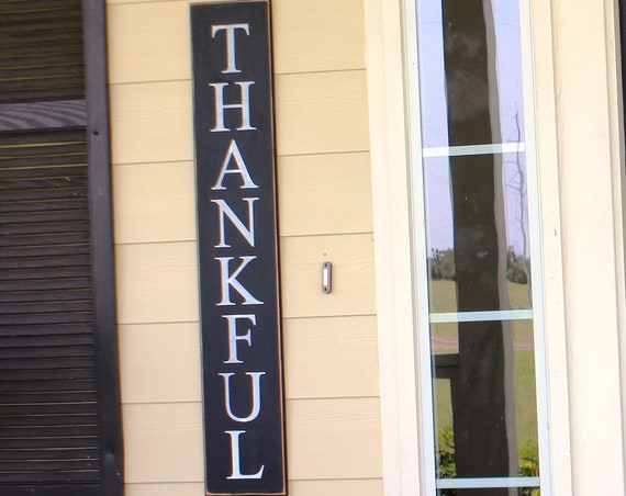 "THANKFUL Porch Sign - Thanksgiving Sign - Large Wooden sign - 43"" x 7"" - 29.00 - Painted Wooden Sign - Hand Painted sign - Porch Signs"