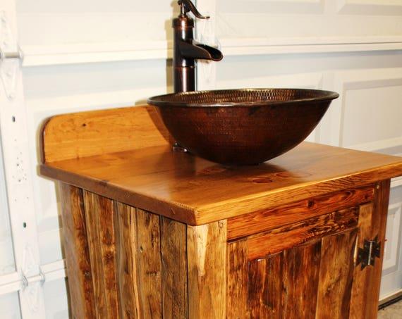 """Rustic LOG Bathroom Vanity - MS1373B-25 - Bathroom Vanity with sink - 25"""" - Copper Sink - Bathroom Vanities - Sink - Rustic Bathroom Vanity"""