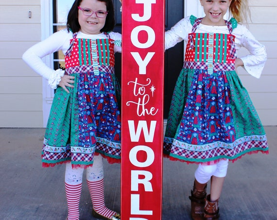 "JOY to the WORLD - Large Christmas Sign - 4 feet tall - Hand Painted Sign - Christmas Porch Sign - 48"" x 8"" - 34.00 - Red and White"