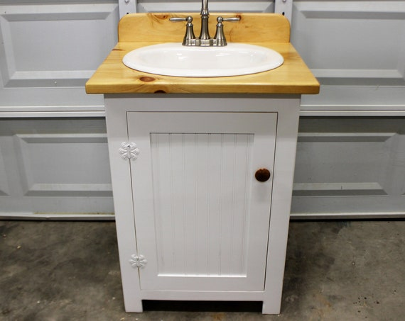 "Bathroom Vanity - 25"" wide - Farmhouse Bathroom Vanity - Bathroom Vanity with Sink - Bathroom Vanities - Natural Wood Top - White - sink"