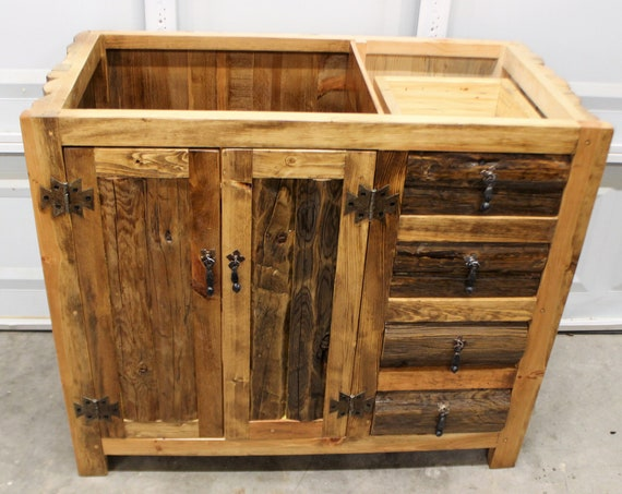 "RUSTIC BATHROOM VANITY - Without a Top - 39"" wide - Rustic Log Vanity - Bathroom Vanity - All Wood - No Top included"