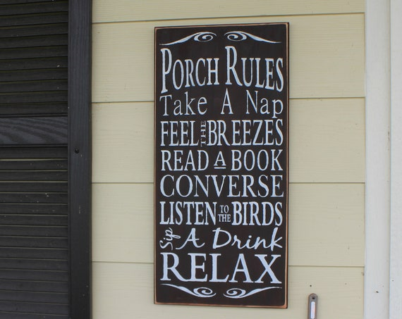PORCH RULES - Brown - 24 x 12 - Wooden Sign - Hand Painted - Large Porch sign - Painted Wooden Sign - 34.00
