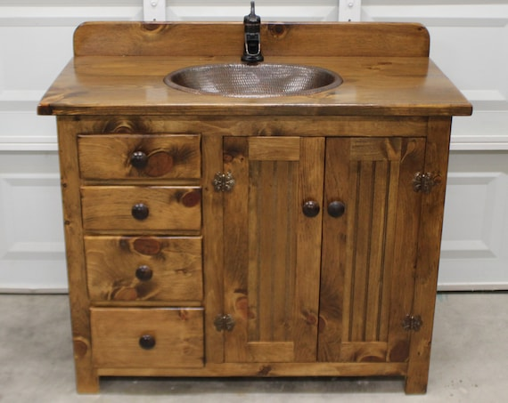 "Rustic Bathroom Vanity - 42"" - Farmhouse Bathroom Vanity - Bathroom Vanity - Bathroom Vanity with sink - Bathroom Vanities - Bathroom sink"