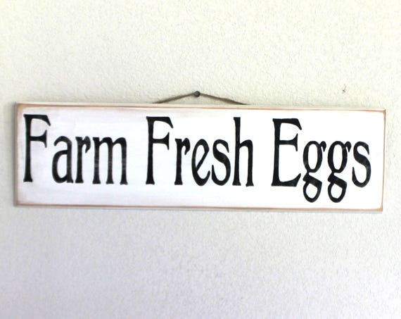 Farm Fresh Eggs -- Wooden sign - Hand painted  --   Black and White - Chickens - Chicken Coop - Farmhouse - Homestead - Farm- Egg Sign
