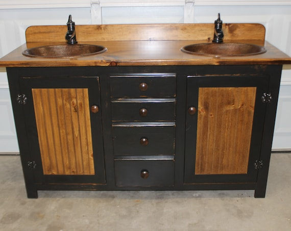 "Bathroom Vanity - Rustic Farmhouse Vanity - Double Bathroom Vanity - Copper Sinks - 60"" - Bronze pump faucets - Faucets and sinks included"